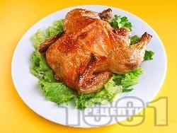 Цяло пиле печено върху едра морска сол на фурна - снимка на рецептата